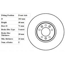 FRONT DISC SINGLE PEUGEOT EXPERT E7 07-304mm